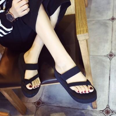欣泽希拖鞋女夏时尚 外穿人字拖女夏厚底防滑高坡跟松糕沙滩拖鞋