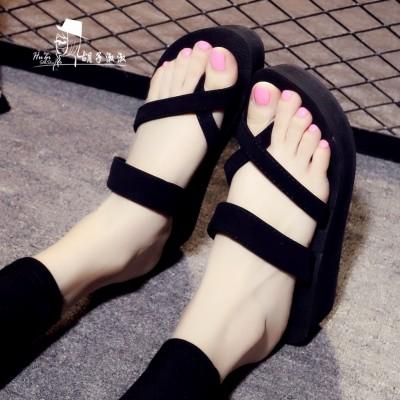 卓诗尼粗跟凉鞋女夏2017新款韩版学生高跟鞋百搭一字扣带罗马女鞋