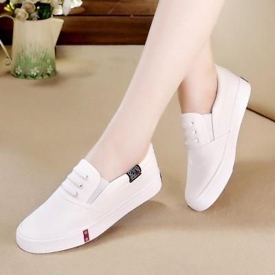 米亲春夏季平底白色一脚蹬女布鞋韩版平跟帆布鞋女休闲小白鞋板鞋