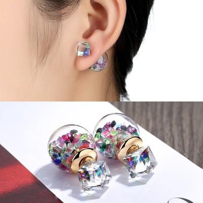 耳钉气质日韩国时尚耳环可爱双面女配简约甜美耳饰品耳坠