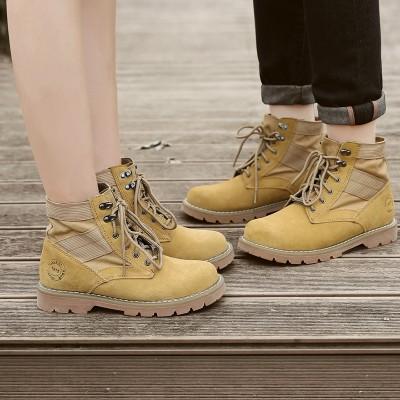 loyuxsi牛皮英伦风马丁靴女靴子短靴潮流工装大码沙漠情侣靴夏季