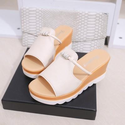 2017女夏季韩版拖鞋一字拖凉鞋女鞋松糕室外坡跟时尚凉拖鞋女厚底
