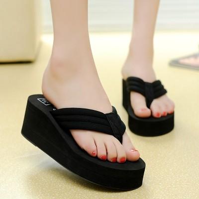 2017夏季凉拖鞋女士亮片人字拖女厚底坡跟防滑沙滩鞋松糕鞋韩版
