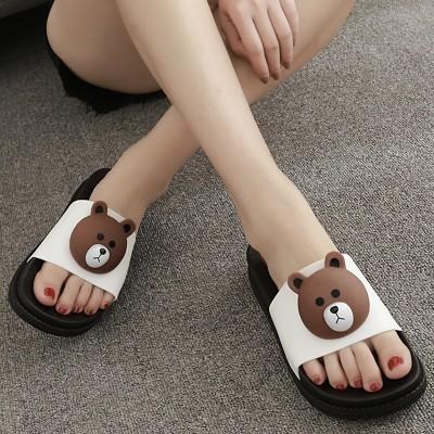 海边夏季新款时尚高跟凉拖鞋女防滑坡跟厚底一字拖松糕跟沙滩拖鞋