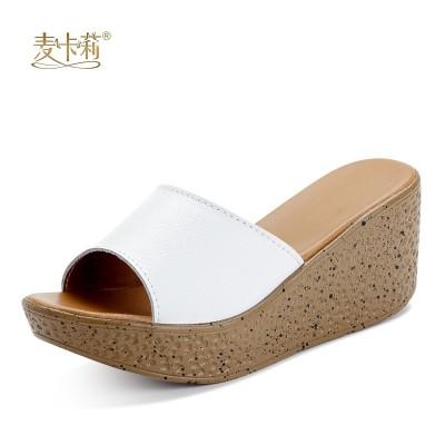 爱俪鸟坡跟凉鞋女夏厚底松糕一字扣女鞋2017韩版新款高跟罗马凉鞋