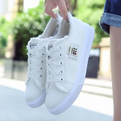 Sportovní obuv Plátené boty Ženské letní vlasy ploché byt s příležitostnou džínovou obuví Malé bílé boty čipky studenti korejské verze