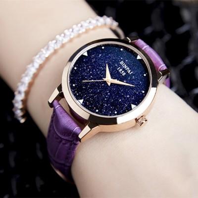Bright hvězda růže zlaté kožené opasky dámské hodinky dámské hodinky módní trendy ženy vodotěsné křemenné hodinky