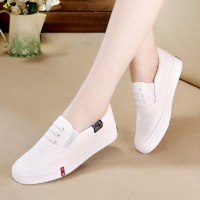 Jarní a letní boty s plochým dnem, bílé boty s jednou nohou, kórejská verze bytu s botami z bavlněné obuvi z běžné boty