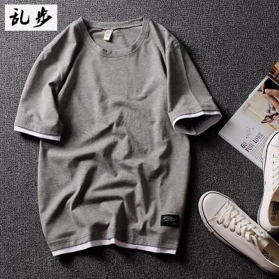 Den nye stilen til sommervinden, bomull, våt kortermet, ensfarget T-skjorte, menns halv erme, bunnelskere, to falske jakker