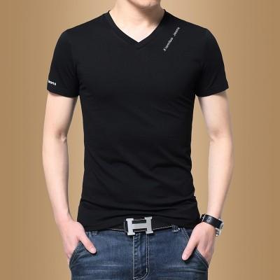 Kortermet T-skjorte for menn, V-krage ensfarget, sommer herreklær, halv erme, koreansk mote, selvkultivering, T-skjorte, T-skjorte tidevann