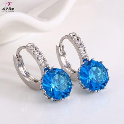 Xu ping earrings Korean jewelry fashion temperament contracted ear clip ear female blue Danube
