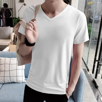 ny kortermet T-skjorte, menns koreanske versjon, V-krage sommerfrakk, selvdyrking, ensfargede farger, herre-T-skjorte, halv ermet tidevann