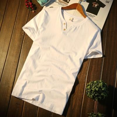 menns kortermet T-skjorte, sommer tidevann V-krage for menn, T-skjorte i ren bomull, slank erme, bunnsskjorte, klær i ren farge